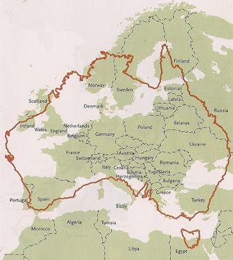 Size of Australia compared to Europe: Map
