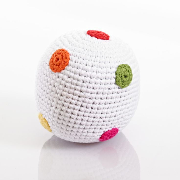 White Crochet Rattle Ball with Spots