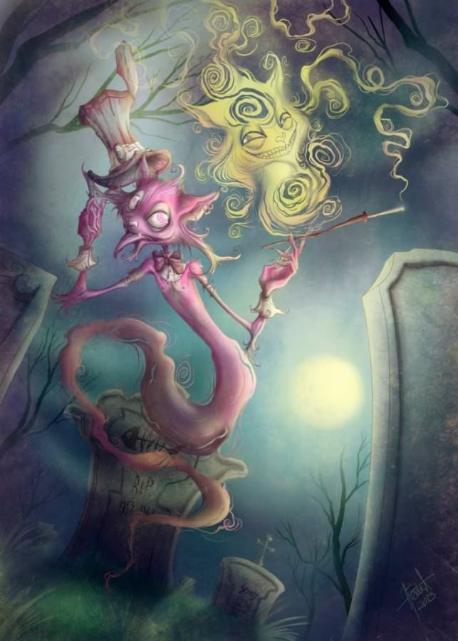 The Cheshire Cat and the Caterpillar from Alice in ...