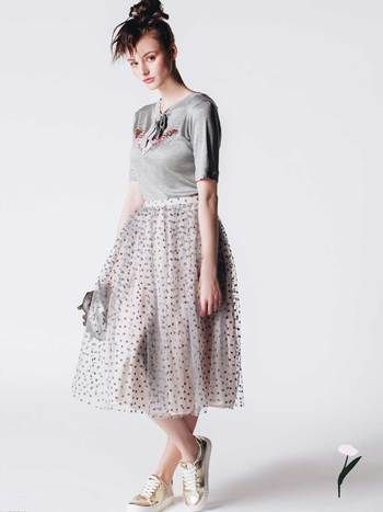 GRAY TULLE SKIRT OLIVIA by RabbitRabbit!