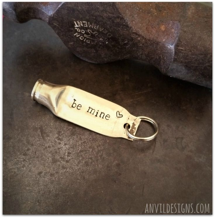Valentine Bullet, Be Mine, Valentines Day, Unisex Gift, Hand Stamped, Zipper Charm, Bullet Keychain, Bullet Jewelry, 223 Brass, Rustic, Hunt by AnvilDesigns on Etsy