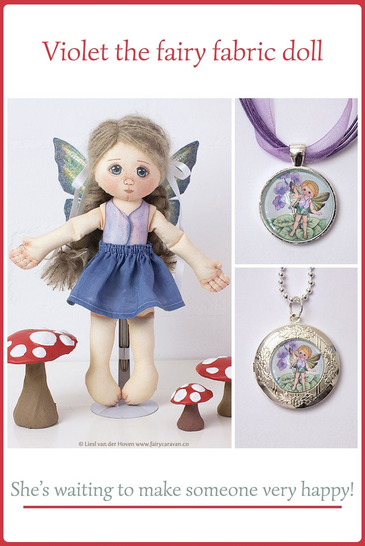 Violet is an exquisite handmade fairy fabric doll available from our magical Fairy Caravan shop! She would make a wonderful gift for a special little girl! #fairydoll #fabricdoll #handmadedoll #heirloomdolls