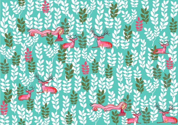 Pattern para Imagezoo #deer #leaves #ciervo #hojas #pattern #patrón #estampado #fairy #deers #illustration #tamairis