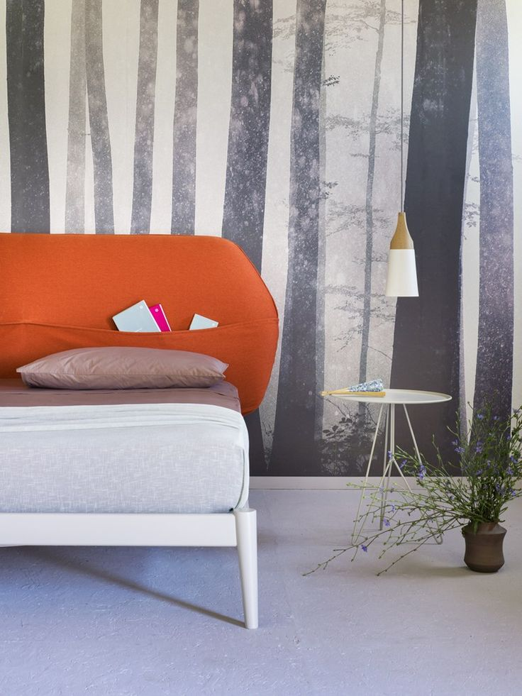 Double #bed with upholstered headboard SHIKO POCKET by Miniforms | #design E-ggs @miniforms
