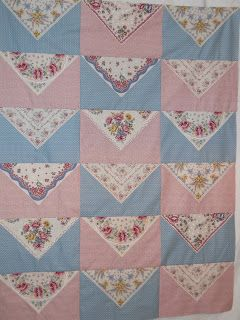 Love this vintage hankie quilt idea.....Celtic Heart Knitting and Quilting: Hankie Quilt In The Works