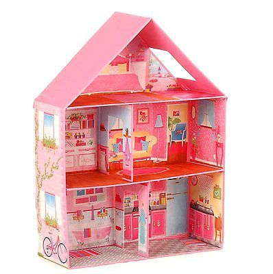 Modern Pink Barbie Dream House Home Play Room Set Girls Toy Doll House Miniature