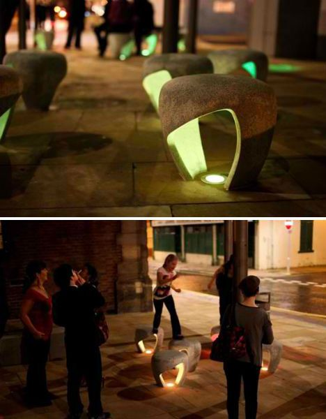 Designed for the city of Sunderland, England, these illuminated stools by Charlie Davidson offer a small gathering place. Their rounded forms and rough textures call to mind boulders and stones, and the cut-outs in the center of each reflect light and give the stools a sculptural look.