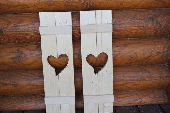 Primitive shutters with a heart shape by TrammellsWoodworking