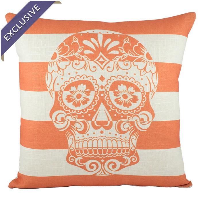 Calavera Striped Pillow in Orange