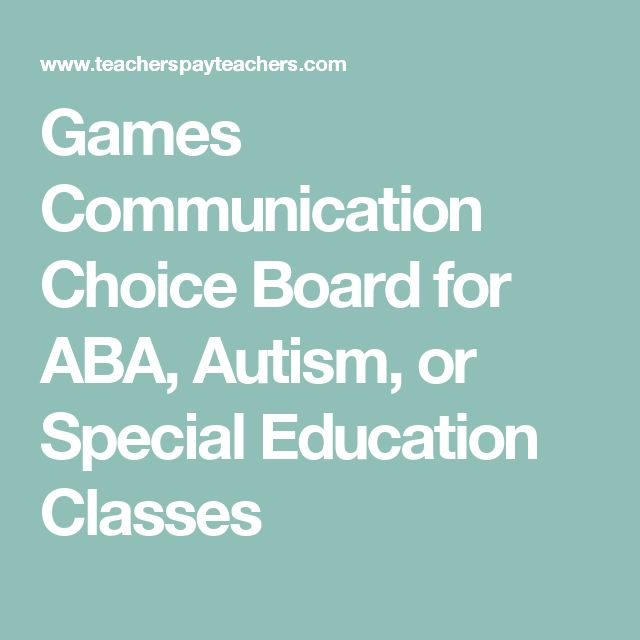 Games Communication Choice Board for ABA, Autism, or Special Education Classes