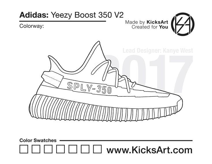 Adidas Yeezy Boost 350 V2 Kicksart Sneakers Drawing Sneaker Art Sneaker Posters