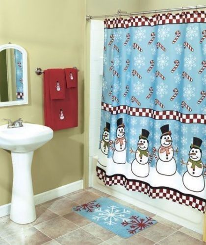 Snowman Frosty Snowflake Red Shower Curtain Bath Rug Towels Hooks Complete Set