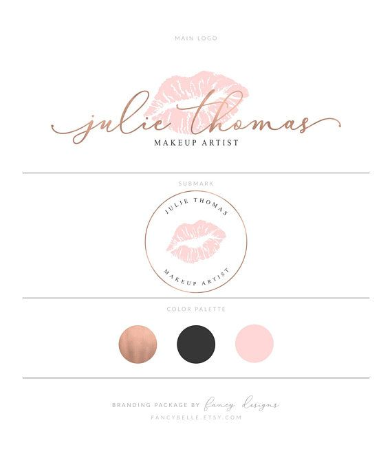 Rose Gold Lips Logo Design Rose Gold Lipsense Makeup Artist Blush