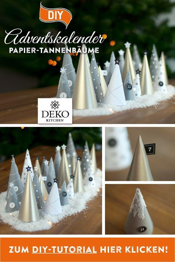Adventskalender Basteln Einfach Günstig.Diy Mit Diesem Kleinen Winterwald Aus Papiertannenbaumen