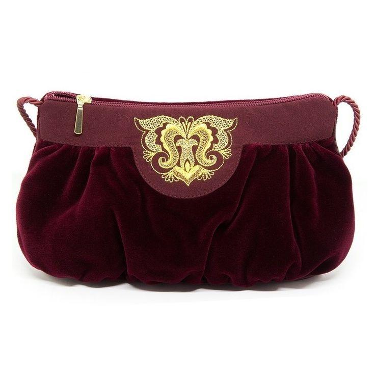 Бархатная женская сумка «Фатиния» с золотой вышивкой   Торжокские золотошвеи