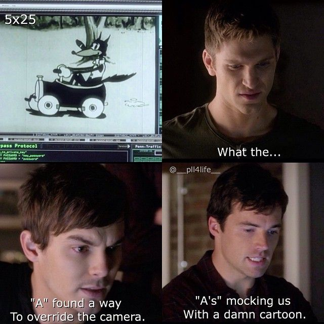 """Toby Cavanaugh, Caleb Rivers, and Ezra Fitz quote """"A's mocking us with a damn cartoon."""" PLL #PLLBoys"""