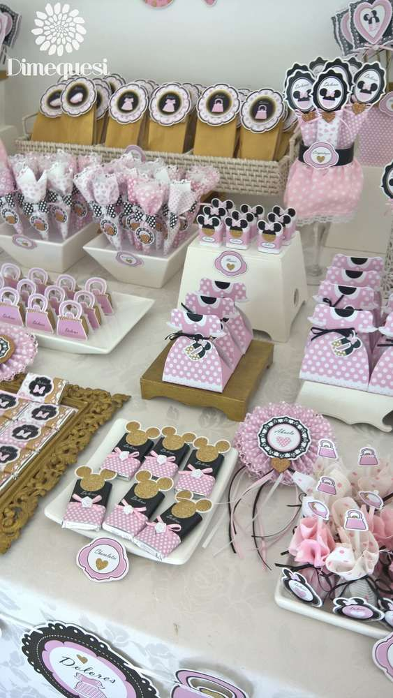 Pink and black Minnie Mouse baby shower party! See more party planning ideas at CatchMyParty.com!