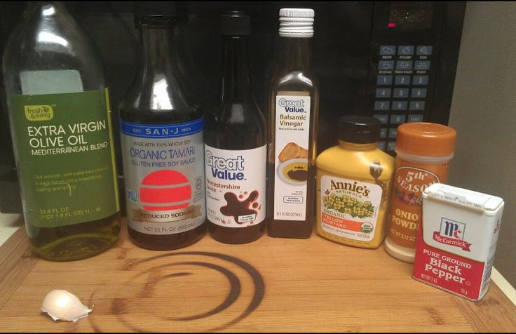 Steak Marinade 1 tablespoon olive oil 1 garlic clove , minced 1 tablespoon Worcestershire sauce 1 tablespoon balsamic vinegar 1/2 Teaspoon of onion powder 1 teaspoon yellow mustard 1 tablespoon soy sauce 1/4 Teaspoon of pepper