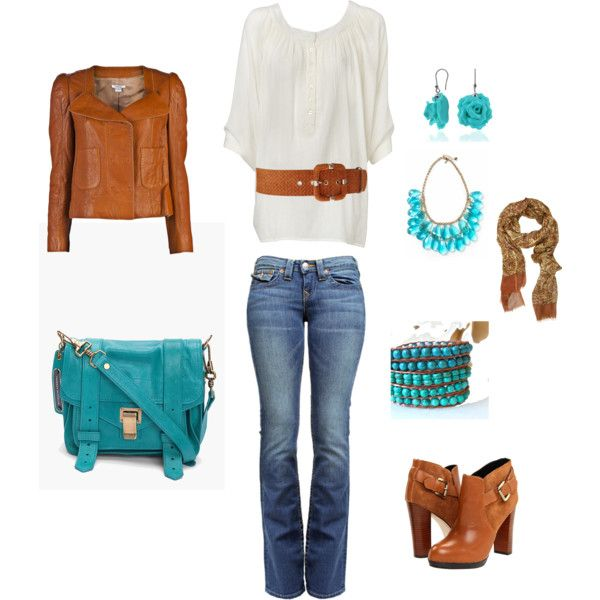 """""""turquoise and leather"""" by kristen-344 on PolyvoreColors Combos, Fashion, Turquois And Brown Outfit, Style, Color Combos, Turquoise Brown Outfits, Turquois Brown Clothing, Turquois Polyvore, Brown And Turquois Outfit"""