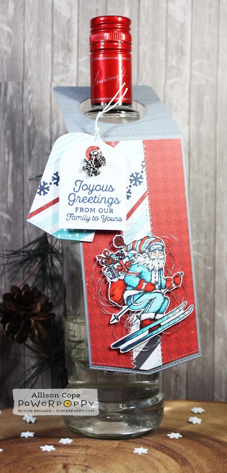 "Wine Tag featuring Power Poppy's ""Action Santa"" & ""Holly Golightly"" stamp sets by Allison Cope."