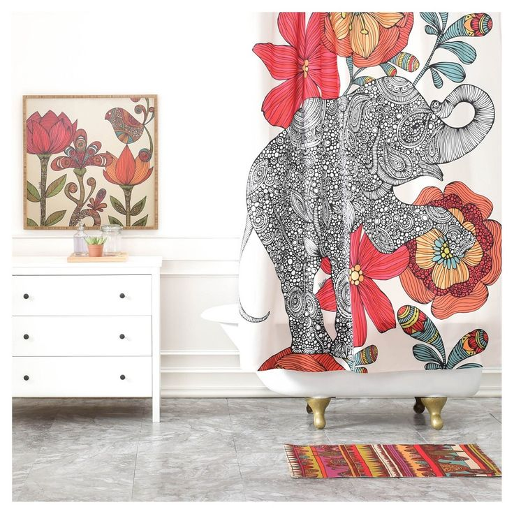 "Valentina Ramos Clementine Shower Curtain Red/Animal (71""x94"") - DENY Designs"