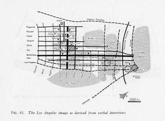 """""""Image of the City"""" - Kevin Lynch's plea for a stronger imageability of cities.    Image: Map derived from verbal interviews about the geography and IMAGE of downtown Los Angeles."""