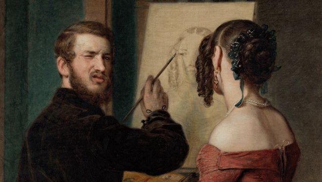 Johann Baptist Reiter, Selbstporträt beim Porträtieren, 1845 © WIEN MUSEUM