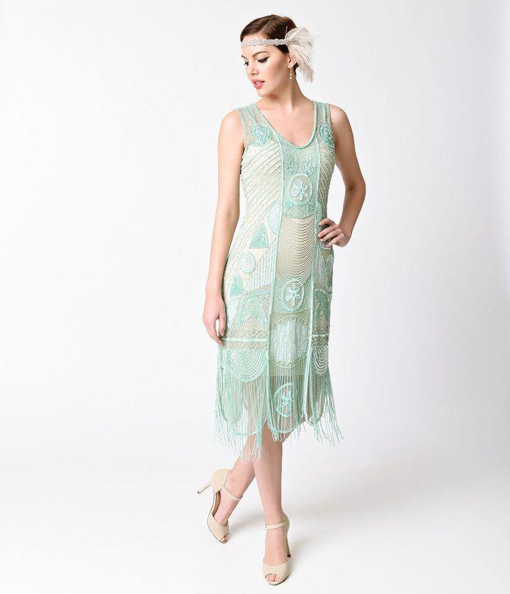 Unique Vintage 1920s Style Mint Beaded Fringe Bosley Flapper Dress