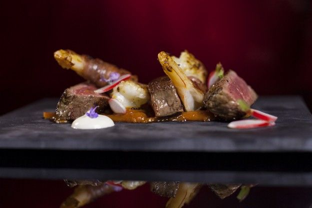 Sirloin with Prosciutto Wrapped Prawns, Chilli Jam, Smoked Yoghurt & Pickled Radish from episode 29 of MKR NZ. http://gustotv.com/recipes/appetizer/sirloin-prosciutto-wrapped-prawns-chilli-jam-smoked-yoghurt-pickled-radish/