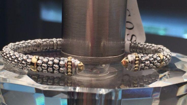 LAGOS Sterling Silver Caviar 6MM Torque Cuff Bracelet 18K Gold NWT $450 #Lagos #Cuff