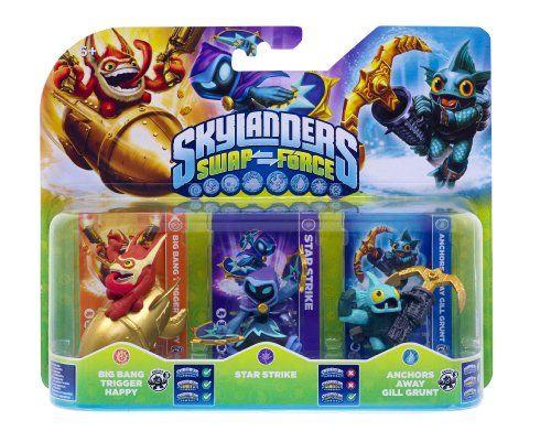 Figurine Skylanders : Swap Force – Star Strike + Anchors Away Gill Grunt + Big Bang Trigger Happy