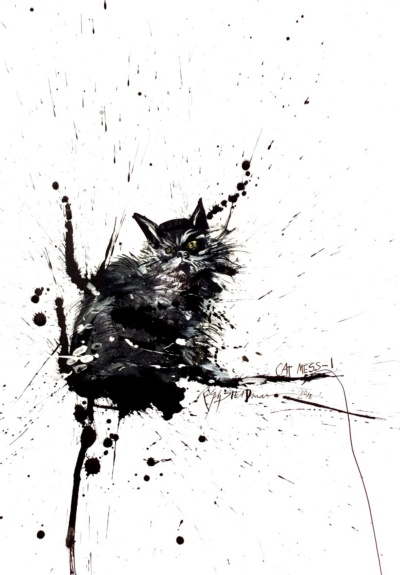 Love this illustrator. His name is Ralph Steadman and he did the artwork on the Fear and Loathing book cover!