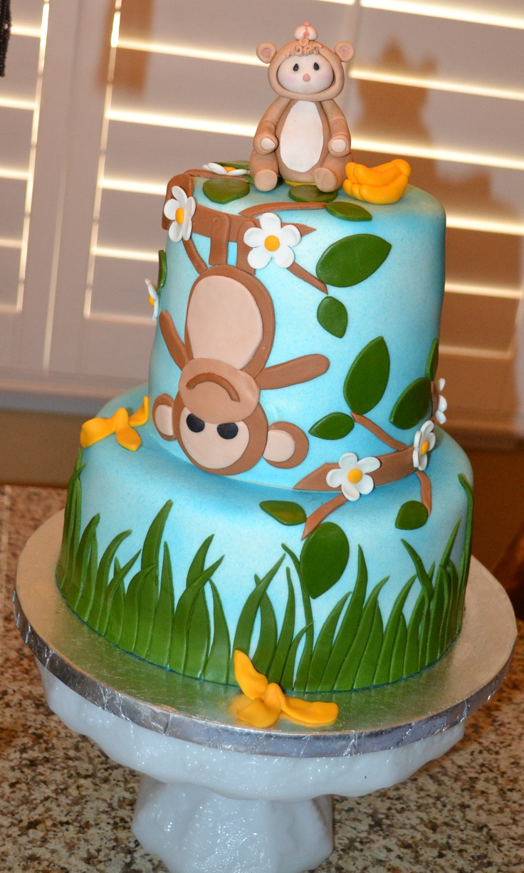 baby shower monkey cake monkey theme pinterest