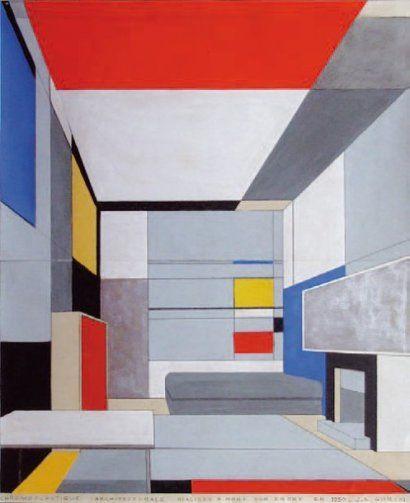Jean GORIN (1899-1981) CHROMOPLASTIQUE ARCHITECTURALE RÉALISÉE À NORT-SUR-ERDRE EN 1930