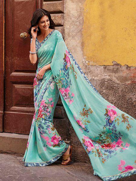 blue faux georgette printed saree | Saira's Boutique
