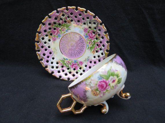 Vintage Shafford porcelain 3 footed tea cup & saucer