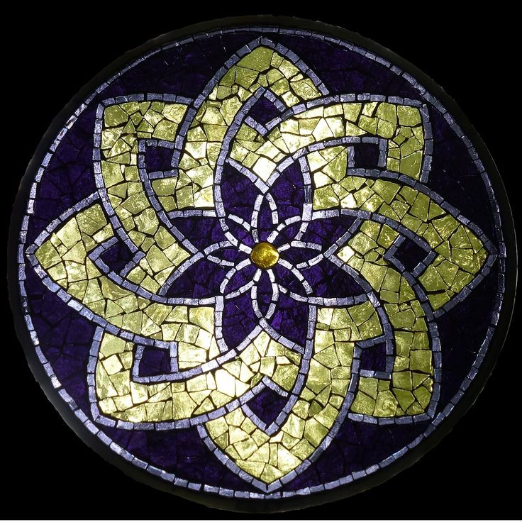 "St. Arnold's Star - Sold Stained Glass Mosaic 10"" diameter"