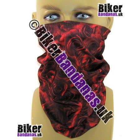 Dark Red Roses Multifunctional Headwear / Neck Tube Bandana - one of over 400 neck tube styles for men and women