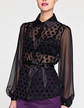 Черная шифоновая блузка в горошек