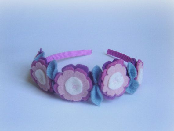 Girls headband light antique pink flower handmade headband old rose crown baby girl hair accessory hair band flowers felted hair easter fun