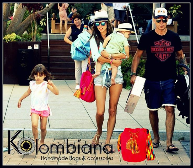 Brazilian model Alessandra Ambrosio rocking her Mochila Wayuu bag! Get one at KOLOMBIANA in 64 Haji Lane Singapore