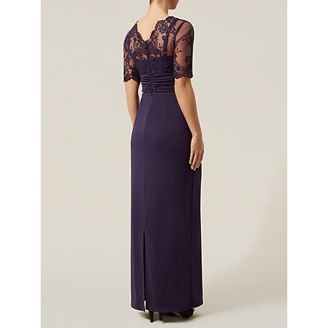 Buy Jacques Vert Embroidered Dress, Dark Purple Online at johnlewis.com