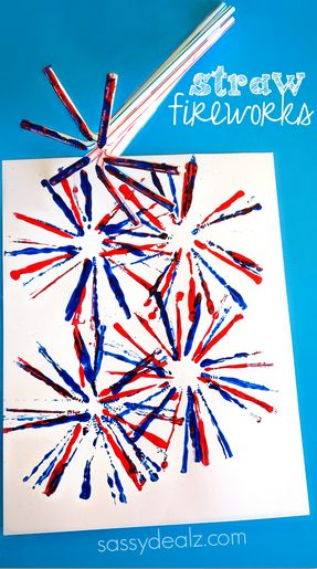 Fireworks Craft for Kids Using Straws - Creative 4th of July craft #MemorialDay #patriotic