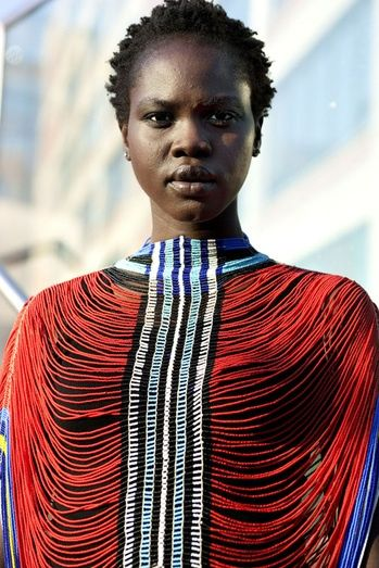 Dinka woman wearing traditional corset:
