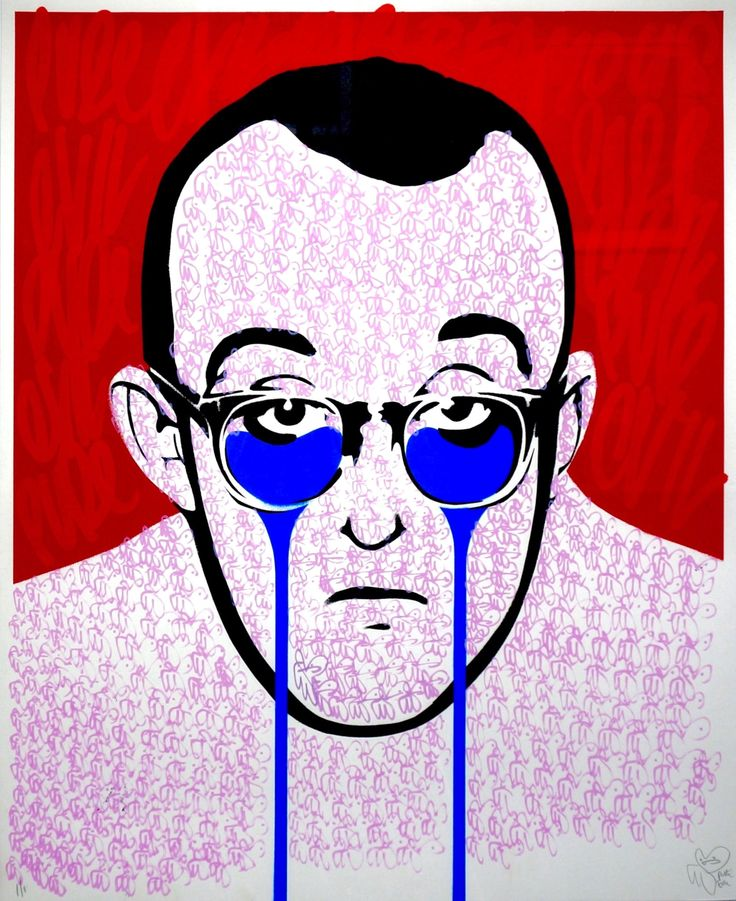 """Pure Evil Keith Haring's Nightmare, 2015 Hand Painted Multiple 1/1 Medium: Hand Painted Screen Print Dimensions: 31.5"""" x 37.5"""" Framed"""