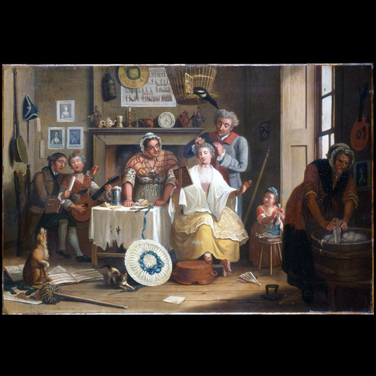 High Life Below Stairs 1763 Artist: John Collet (1725?-1780) Origin: England, London Unframed: 28 x 41 3/4in. (71.1 x 106cm) and Framed: 34 11/16 x 48 1/4 x 2 1/2in. Oil on canvas Gift of Mrs. Cora Ginsburg Acc. No. 1991-175,A&B Colonial Williamsburg