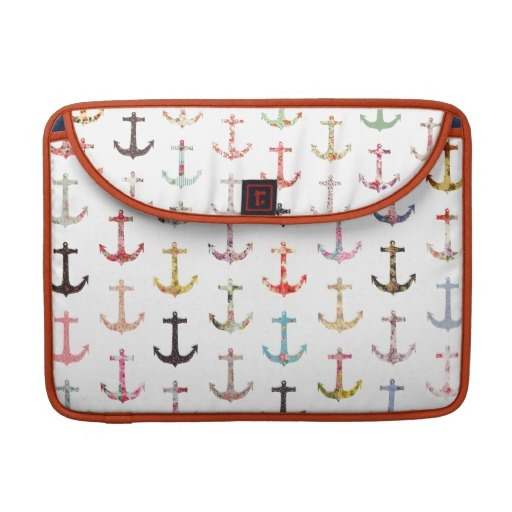 Vintage retro sailor girly floral nautical anchors sleeve for MacBooks
