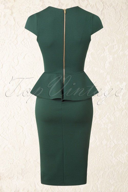 Vintage Chic Racing Green Peplum Pencil Dress 100 40 16415 20150908 0012W1