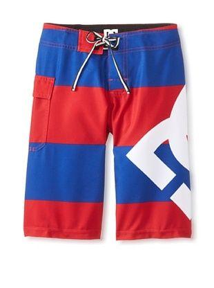 65% OFF DC Boy's 8-20 Lanai Board Short (Deep Red Big Stripe)