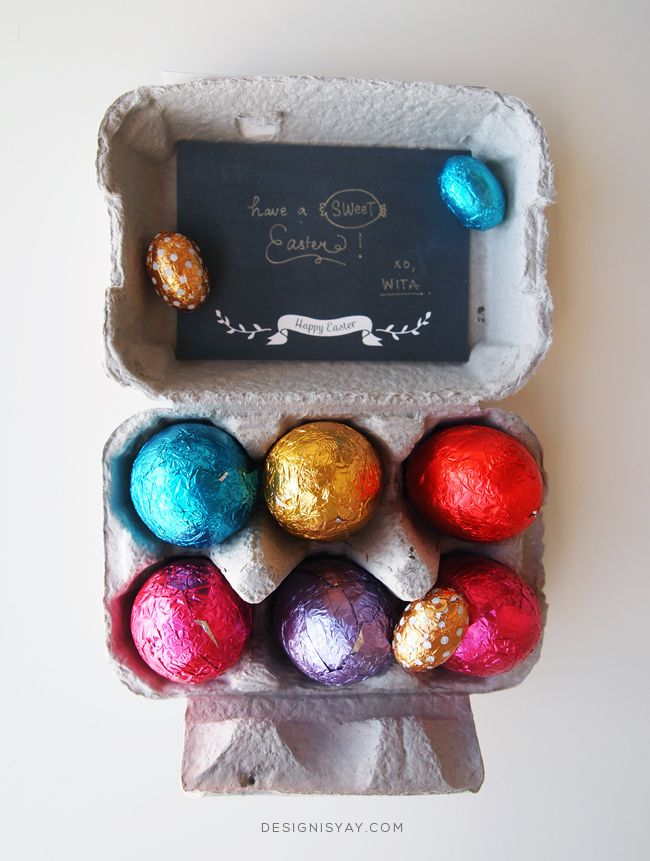 Chocolate Easter eggs inside an egg carton. Wrap / decorate the outside of the carton beautifully too.